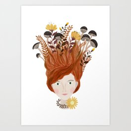 Autumn women portrait illustration Art Print