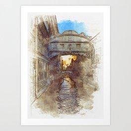 Venezia Ponte di Sospiri  - SKETCH Art Print