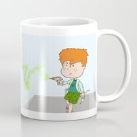 sandman Mugs featuring Sandman Battling Dr. Gamma Ray by Little Moon Dance