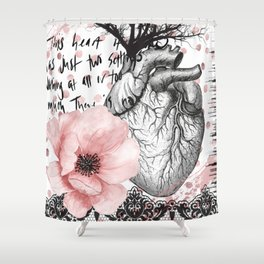 No In Between - Hearts and polka dots - Digital Artwork Shower Curtain