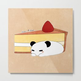 Panda Pudding Metal Print