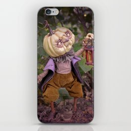 Rucus Studio Pumpkin Man and Fireflies iPhone Skin