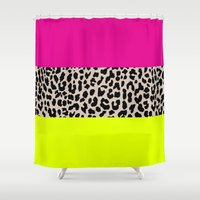 the national Shower Curtains featuring Leopard National Flag X by M Studio