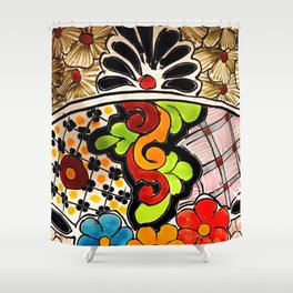 Beautiful Red and Green Talavera Shower Curtain