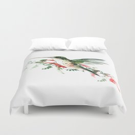 Hummingbird, Flying Hummingbird minimalist art, design watercolor design Duvet Cover