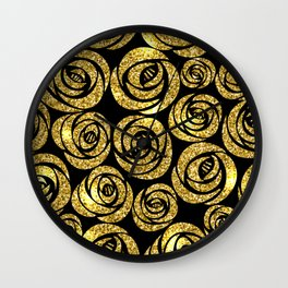 Bed of Roses in Gold and Black Wall Clock
