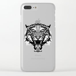 Tiger Face - 01 Black & White Clear iPhone Case