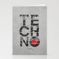 springsteen Stationery Cards featuring I love Techno by Sitchko Igor