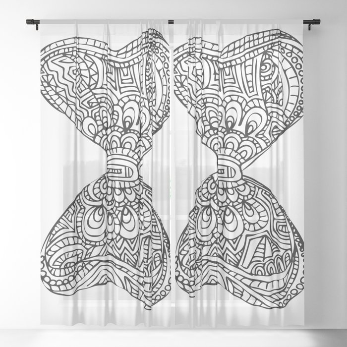 Sweet Hearts & Flowers Bow - Black & White Sheer Curtain