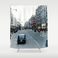 taxi driver Shower Curtains featuring hey taxi taxi  by gzm_guvenc