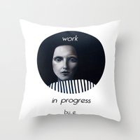 musa Throw Pillows featuring Work in progress by e. - MusA by Michela Ezekiela Riba