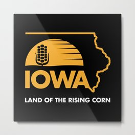 Iowa: Land of the Rising Corn - Black and Gold Edition Metal Print