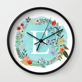 Personalized Monogram Initial Letter E Blue Watercolor Flower Wreath Artwork Wall Clock