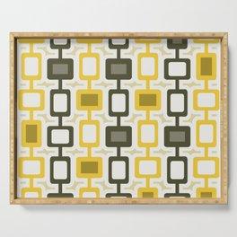 Mid Century Modern Square Columns Yellow Gray Serving Tray