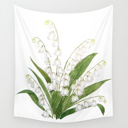 white lily of valley Wall Tapestry
