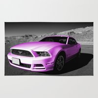 mustang Area & Throw Rugs featuring Pink Mustang  by Rob Hawkins Photography
