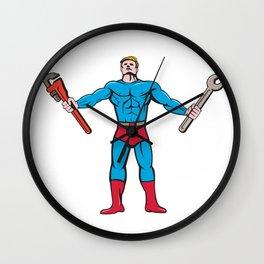 Superhero Handyman Spanner Wrench Cartoon Wall Clock
