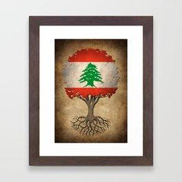 Vintage Tree of Life with Flag of Lebanon Framed Art Print