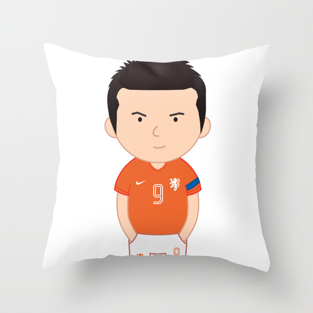 Robin Van Persie - Netherlands - World Cup 2014 Throw Pillow by Toonsoccer PLW9019159