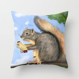 Squirrel eating corn Throw Pillow