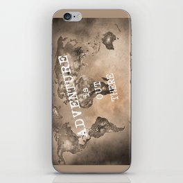 Adventure is out there. Stars world map. Sepia iPhone Skin