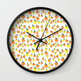 Handdrawn Lemons and Oranges Pattern Wall Clock
