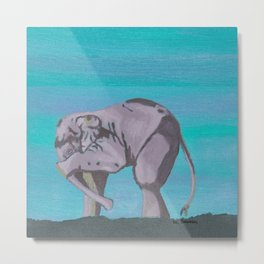 Shy Elephant Metal Print