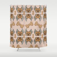 yorkie Shower Curtains featuring New Yorkie by Brianna Heyer