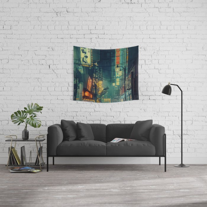Tokyo Nights / Memories of Green / Blade Runner Vibes / Cyberpunk / Liam Wong Wall Tapestry