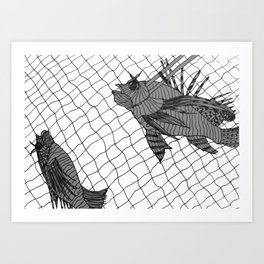 Lionfish Catch Art Print