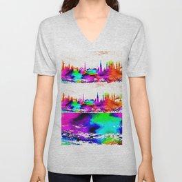 The International Skyline Watercolor Unisex V-Neck