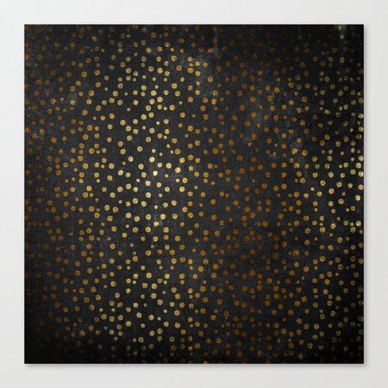 Gold polkadots dots on black backround-Elegant and Luxury Design Canvas Print