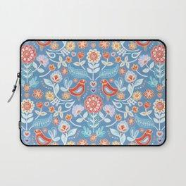 Happy Folk Summer Floral on Light Blue Laptop Sleeve