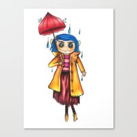 coraline Canvas Prints featuring Coraline Doll by Garrett Kenneth Roach