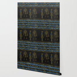 Golden Egyptian Gods and hieroglyphics on leather Wallpaper