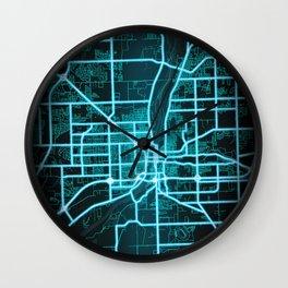Joliet, IL, USA, Blue, White, Neon, Glow, City, Map Wall Clock