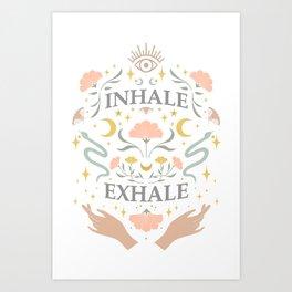 Breathe, inhale exhale yogi zen master poster white Art Print