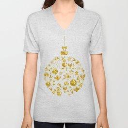 Golden Shimmering Christmas Ornament Bauble Unisex V-Neck