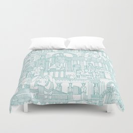 Ancient Greece teal white Duvet Cover