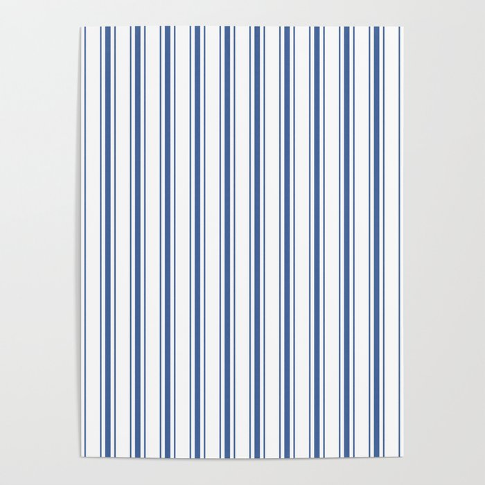 Mattress Ticking Wide Striped Pattern in Dark Blue and White Poster