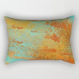 Turquoise and Copper-Red Rectangular Pillow