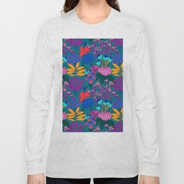 Psychedelic Jungle Garden in Pond Teal Long Sleeve T-shirt