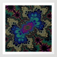 novelty Art Prints featuring Peacock Fractal by Moody Muse