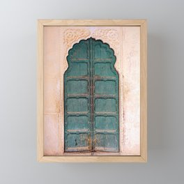 Antique door in India - Teal door, peach wall Framed Mini Art Print