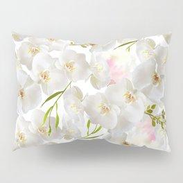 Elegant white orchid blush pink watercolor floral Pillow Sham