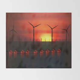 Boats at Sunset (Digital Art) Throw Blanket