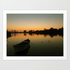 Sunset boat Art Print