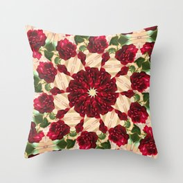 Old Red Rose Kaleidoscope 9 Throw Pillow