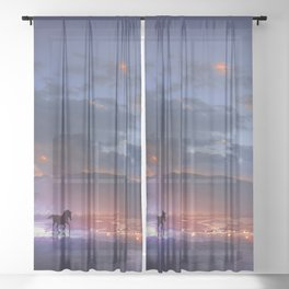 Fascinating Wild Fairytale Horses Running Across Mystic Fire River Dreamy Sunset UHD Sheer Curtain
