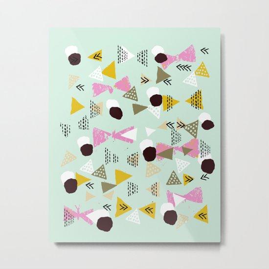 Ralea - abstract design triangle geometric circle print texture dots mid century modern graphic  Metal Print